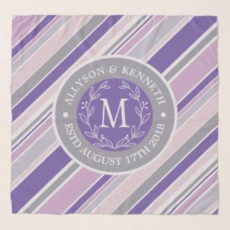 Pañuelo Hoja púrpura del laurel de las rayas de moda de la