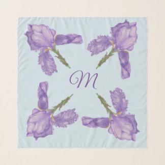 Pañuelo Iris barbudos púrpuras hermosos con el monograma