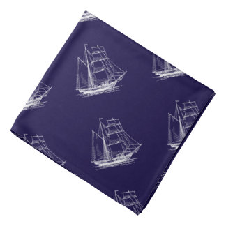 Pañuelo náutico azul del barco del velero