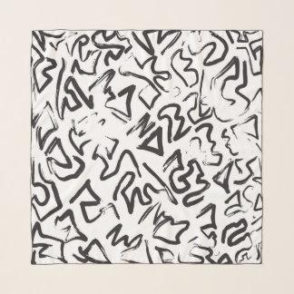 Pañuelo Pinceladas abstractas blancas negras modernas de