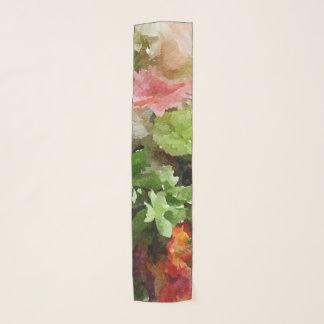 Pañuelo Rosa y verde florales del melocotón de la acuarela