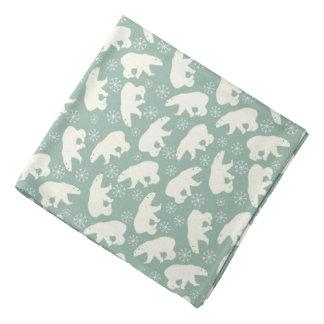 Pañuelo verde del invierno con los osos polares bandana