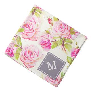 Pañuelo viejo del monograma de los rosas del