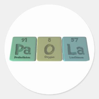 Paola como lantano del oxígeno del Protactinium Pegatinas Redondas