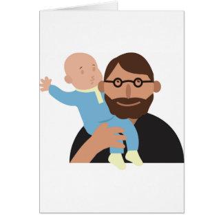 Papá con el bebé tarjeta de felicitación
