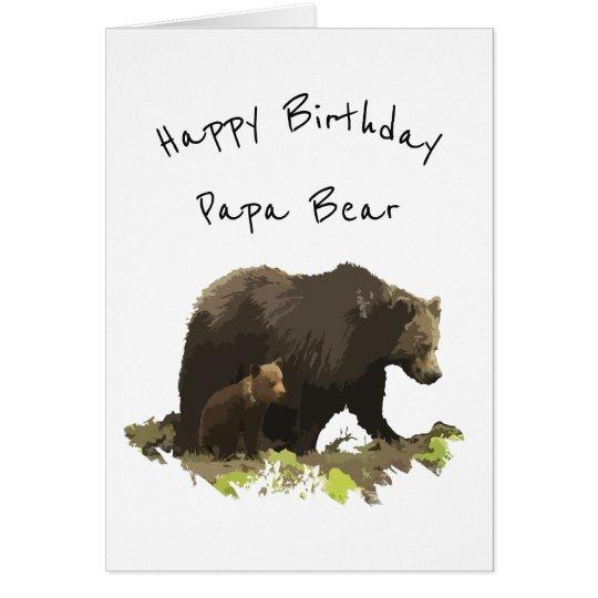 Papá del oso de la papá del feliz cumpleaños, tarjeta de felicitación