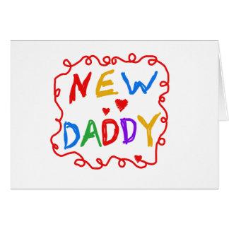 Papá del texto de los colores primarios nuevo tarjeta de felicitación