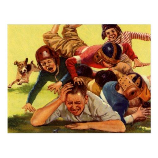 Papá del vintage que juega niños del fútbol w y el tarjetas postales