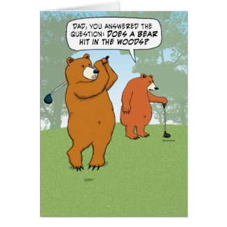 Papá divertido e hijo del oso Golfing el el día de Tarjeta De Felicitación