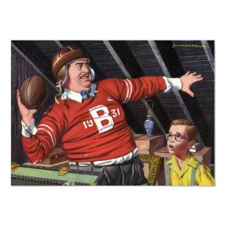 Papá e hijo del fútbol del vintage invitación 12,7 x 17,8 cm