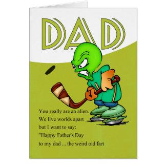 Papá, extranjero chistoso del hockey del día de tarjeta de felicitación