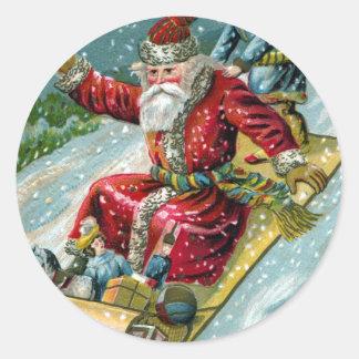 Papá Noel 1907 en trineo largo Pegatina Redonda