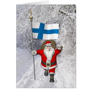 Papá Noel alegre con la bandera de Finlandia Tarjeta De Felicitación
