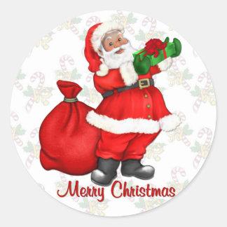 Papá Noel alegre Pegatina Redonda