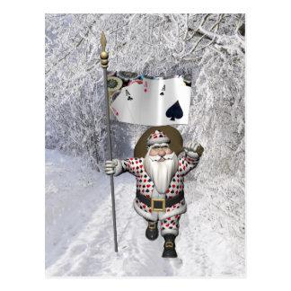 Papá Noel ama el jugar del póker Postal