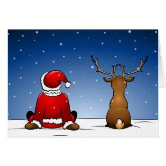 Papá Noel and Rudolph Tarjeta De Felicitación