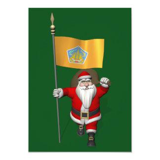 Papá Noel con la bandera de Bali Invitación 12,7 X 17,8 Cm