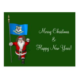 Papá Noel con la bandera de Connecticut Postal