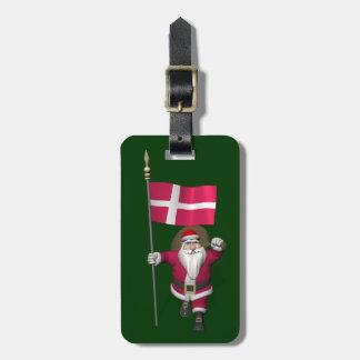 Papá Noel con la bandera de Dinamarca Dannebrog Etiqueta Para Maleta