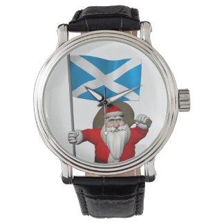 Papá Noel con la bandera de Escocia Reloj De Pulsera