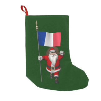 Papá Noel con la bandera de Francia Calcetín De Navidad Pequeño
