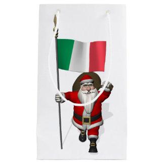 Papá Noel con la bandera de Italia Bolsa De Regalo Pequeña