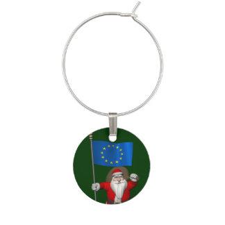 Papá Noel con la bandera de la unión europea Identificadores De Copas