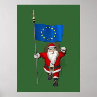 Papá Noel con la bandera de la unión europea Póster