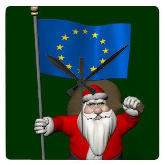 Papá Noel con la bandera de la unión europea Reloj Cuadrado