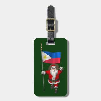 Papá Noel con la bandera de las Filipinas Etiquetas Para Maletas