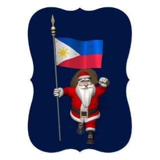 Papá Noel con la bandera de las Filipinas Invitación 12,7 X 17,8 Cm