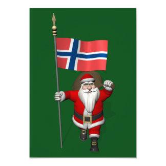 Papá Noel con la bandera de Noruega Invitación 12,7 X 17,8 Cm