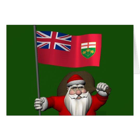 Papá Noel con la bandera de Ontario Tarjeta De Felicitación