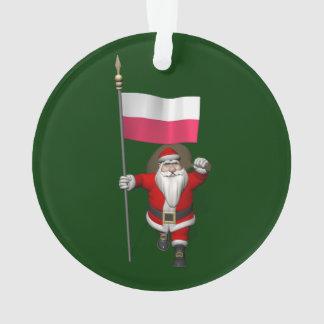 Papá Noel con la bandera de Polonia Adorno