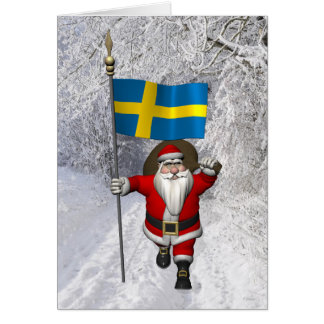 Papá Noel con la bandera de Suecia Tarjeta De Felicitación