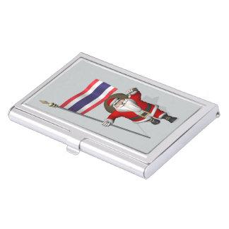Papá Noel con la bandera de Tailandia Cajas De Tarjetas De Negocios