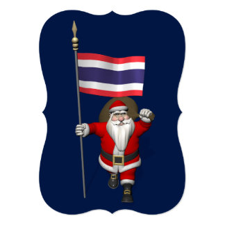 Papá Noel con la bandera de Tailandia Invitación 12,7 X 17,8 Cm