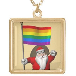 Papá Noel con la bandera del arco iris del orgullo Collar Dorado