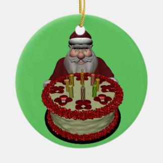 Papá Noel con la torta de cumpleaños Adorno Redondo De Cerámica