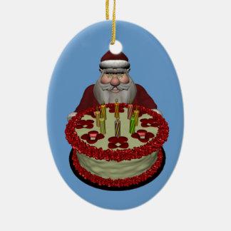 Papá Noel con la torta de cumpleaños Adorno Ovalado De Cerámica