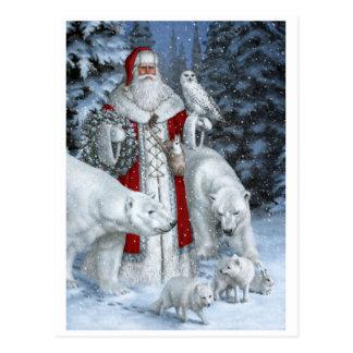 Papá Noel con un búho y osos polares Postal