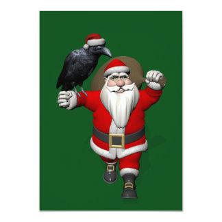 Papá Noel divertido con el cuervo común Invitación 12,7 X 17,8 Cm