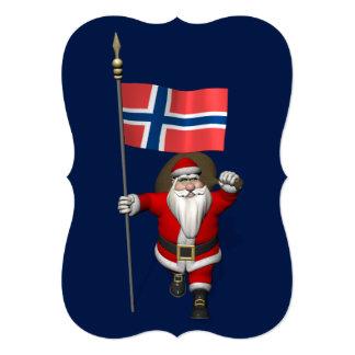 Papá Noel divertido con la bandera de Noruega Invitación 12,7 X 17,8 Cm