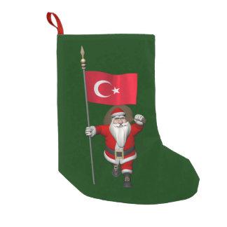 Papá Noel divertido con la bandera de Turquía Calcetín De Navidad Pequeño