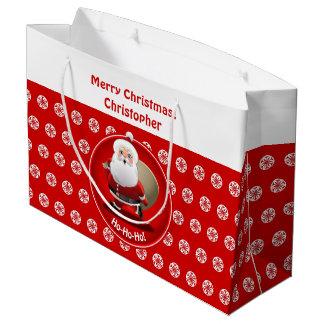 Papá Noel divertido con un saco lleno de presentes Bolsa De Regalo Grande