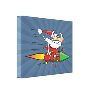 Papá Noel divertido en un dibujo animado del cohet Impresión En Lona