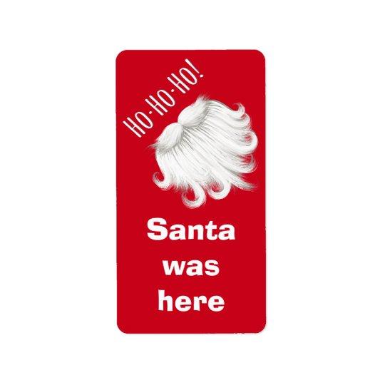Papá Noel divertido estaba aquí la barba blanca Etiqueta De Dirección
