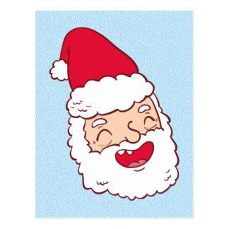 Papá Noel divertido que ríe su cabeza apagado Postal