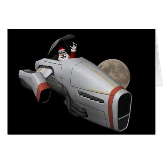 Papá Noel divertido que vuela una nave espacial Tarjeta De Felicitación
