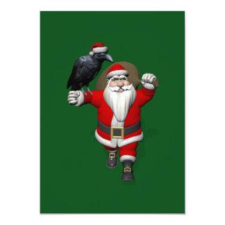 Papá Noel dulce con el cuervo enorme Invitación 12,7 X 17,8 Cm
